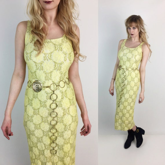 90's Yellow Lace Midi Dress Size 6 Bodycon Boho - Vintage Canary Yellow Hand Dyed Lace Midi Sexy Bohemian Festival Spring Summer Dress