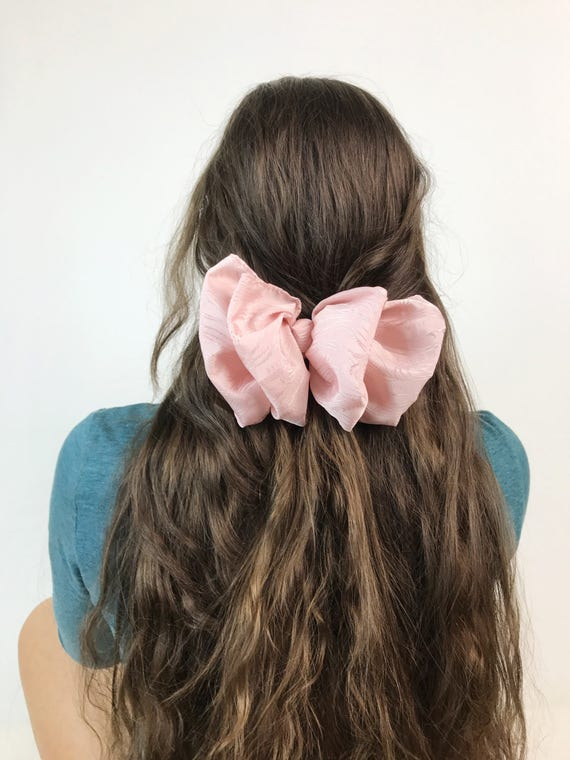 90's Floral Bow Clip French Clip Pastel Pink  - Light Baby Pink Bow Clip Large Bow Hair Barrette - Nineties Hipster Grunge Hair Accessory