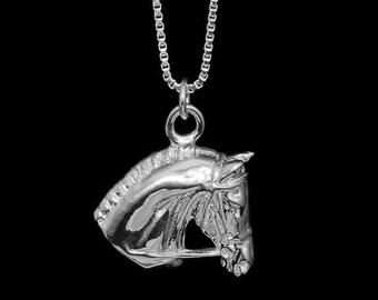 Equestrian Horse Head Necklace, equestrian necklace, equestrian pendant, horse necklace, horse pendant, horse jewelry, equestrian jewelry