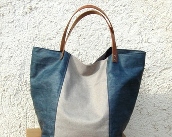 Large tote bag, tote bag or Tote in Prussian blue linen and natural. Hand made in France