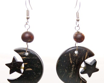 Moon and Star Coconut earrings