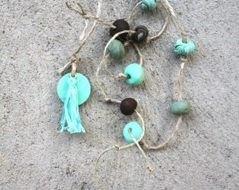 Clay hanging decor turquoise and brown