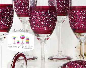 13 x Wedding Party Gifts Personalised Wedding Champagne Bridal Party Glasses Ruby Wedding Design Bridesmaid Gifts Wedding Glasses Lace
