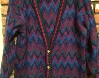 Vintage Multicolor Chevron Mohair V-Neck Cardigan L Blue Purple