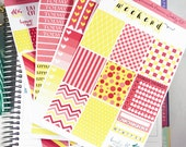 Strawberry Lemonade Premium Weekly Kit Stickers / Colorful Pear and Coral Weekly for  Erin Condren / Weekly Functional Kits / Washi, F