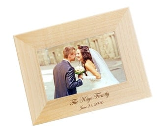 ships fast engraved wood photo frame family photo frame personalized picture frame wedding gift in your choice of sizes wf05