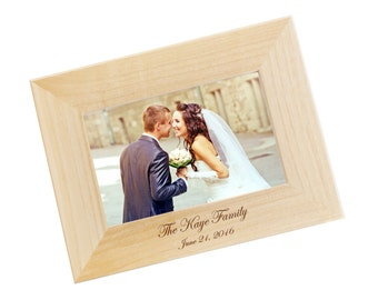 SHIPS FAST, Engraved Wood Photo Frame, Family Photo Frame, Personalized Picture Frame Wedding Gift in Your Choice of Sizes - WF05