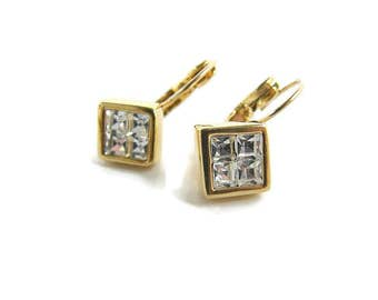 Small CZ earring Nolan Miller jewelry Cubic Zirconia bridal small earrings Gold clear crystal earring Geometric earring  halo earring