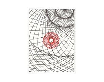 Tiny Art, Artist Trading Card, Original ACEO, Geometric Tiny Art, Abstract Tiny Art, ATC Tiny Line Drawing, Tiny Artwork, Red & Black ATC