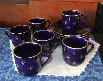 Rörstrand Fleur de Lis Cobalt Blue and Gilt Demitasse Cups and Saucers, Set of 6, Made in Sweden