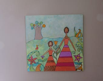 painting, canvas, acrylic, mixed media, collage, Africa, travel, flowers