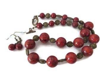 Red Orange Necklace Set, Orange Coral Necklace, Coral Earrings, Chunky Coral Necklace, Rust Red Necklace, Orangish Red Necklace, Orange