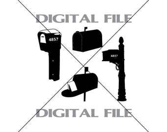 Four Mailboxes Vector Images Vinyl Decal T-shirt Digital Cutting Files ,Svg File, Ai, Eps, PNG