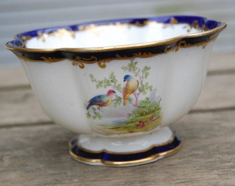 Crescent China England Bowl George Jones and Sons Exotic Birds Design Blue and Gold - George Jones GJ & Sons Crescent Fine China - Wild Bird