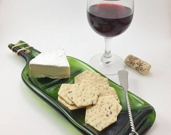 Recycled Wine Bottle, Wine Bottle Cheese Tray, Melted Wine Bottle w/ Cheese Knife Optional, Divided Dish, Snack Tray, Slumped Wine Bottle