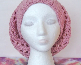 Pink Crochet Slouchy Hat Slouchy Beanie Hipster Hat Winter Hat