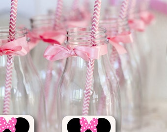 Minnie Mouse Party Decorations- Sticker Labels