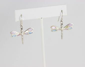 Sterling Silver Mother of Pearl Dragonfly Dangle Drop Earrings