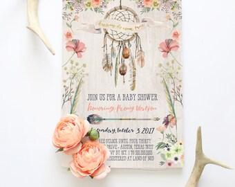 Dream Catcher Baby Shower Invitation - Rustic Boho Invites - Dreams Do Come True - Printed or Printable Invitations