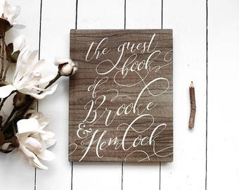 Rustic Wedding Guest Book - Script Calligraphy-inspired Wedding Guestbook - Custom Guest Book - Personalized Guestbook - 8 x 10
