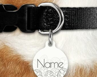 Trees Pet ID Tag - Hand Drawn Trees - Forest - Minimalist - Masculine Pet ID - Boy Tag - Cat Tag - Two Sided Tag - Name Tag - Personalized