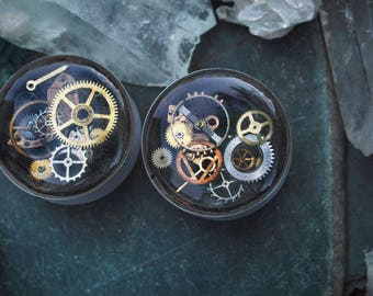 """Steampunk Curiosity Gear and Cog Plugs/Gauges for Stretched Ears 22mm 7/8"""" Single Flared One of A Kind Hand-Collected Watch Parts"""