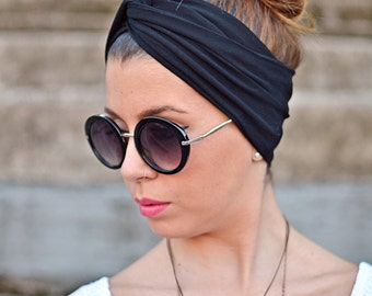 Black Headband, Yoga Headband, Workout Headband, Twist Headband, Boho Headband, Black Turban, Bohemian Headband, Elastic Headband, Womens