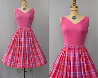 1950's hot pink cotton plaid sun dress • small