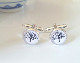 Christmas Gifts - Trees - Men's Cuff links - Wedding Accessories - Silver Cuff links - Nature Jewelry - Wedding Jewellery - Gifts for him