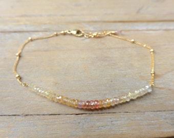 T H E  S A P P H I R E  C O L L E C T I O N - Peach Ombre Sapphire Bar Gold Bracelet