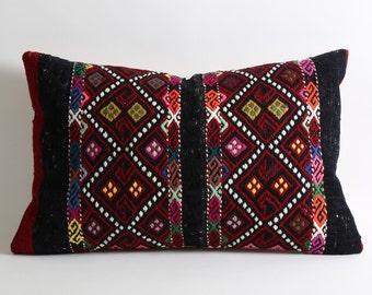 kilim, 16x24 turkish pillow cover, pillow case, vintage pillow, handwoven pillow, anatolian pillow, rustic pillow, sofa pillow, rug pillow