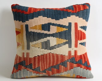 Handwoven kilim pillow, 16x16 kilim pillow cover, aztec pillow