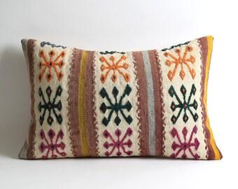Decorative Kilim Pillow Covers 16x24 Striped white lumbar kilim pillow