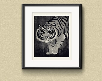 Tiger Etching Print: Hand-printed animal aquatint etching art