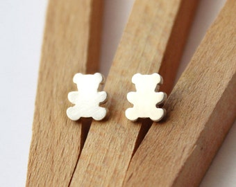 Tiny Sterling Silver Bear Post Earrings - Handcrafted Silver Jewelry - Silver Earrings