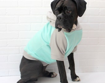 Dog Coat Sweater, Pet Clothing, Dog Hoodie for Girl/Boy in Mint and Grey