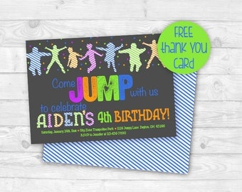 Trampoline Park Birthday Party Invitation, Bounce House Party, Trampoline Party Invitation, Sky Zone, Get Air, Jump, Printable