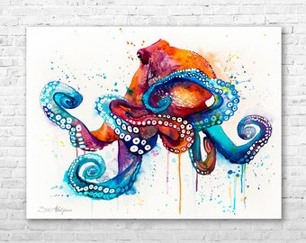 Octopus  watercolor painting print by Slaveika Aladjova, art, animal, illustration, Sea art, sea life art, home decor, Wall art