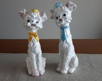 Anthropomorphic long neck dog figurines with hats, ties // west highland white terriers, westies, Lefton/Napco/Enesco style, retro kitsch