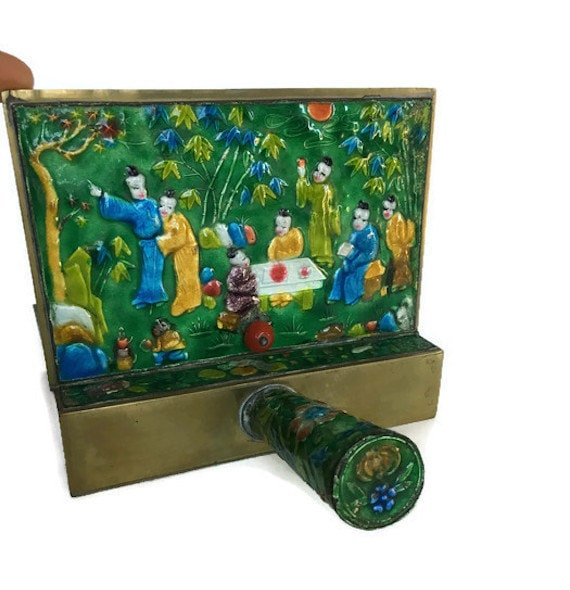 Hand painted crumb catcher enameled brass silent butler ashtray