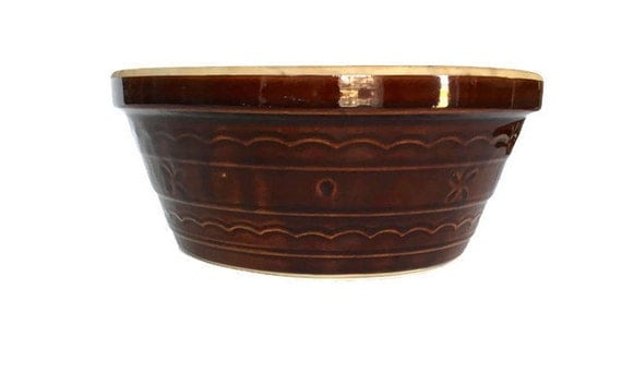 Large Mar-crest stoneware bowl vintage oven proof pottery 1960s cooking