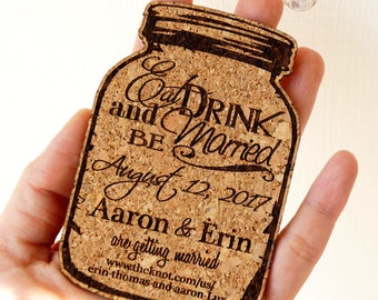 Save the date magnets, cork save the dates, mason jar save-the-date magnets, 4'' cork magnets, rustic wedding save the dates, set of 25 pc