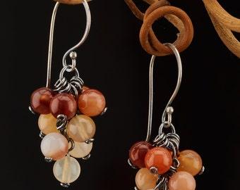 """Carnelian silver earrings """"Autumn berries"""""""