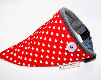 Bandana red gray hearts, collar with cloth