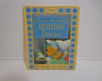 Vintage 90s Disney's Winnie the Pooh's Bedtime Stories Book, Illustrated Childrens Books, Ephemera, Disneyana