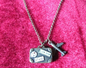 Bronze suitcase and airplane charm necklace