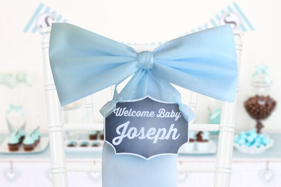 Boy baby shower decoration blue baby shower bow its a for Baby boy door decoration