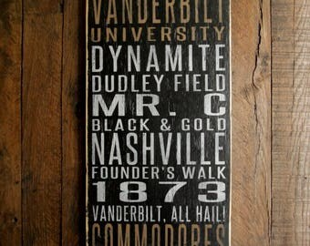 Vanderbilt University Commodores Distressed Wood Sign--Great Father's Day Gift!