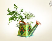 DIY Watering Can Vase / Pen Stand Papercraft   Artistic Floral Green Home Decor Flower Holder Desk Accessory   A4 template Instant download
