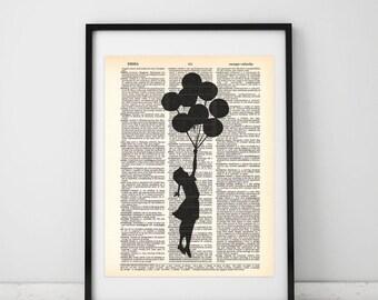 Flying girl with balloons, Banksy  Dictionary print, Ballon wall decor, Banksy Balloon print, Bansky art, Strret art Book page print.  #007